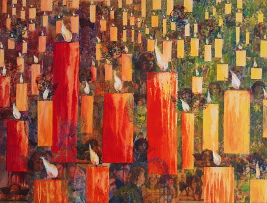 Flammes dans le vent 60 x 80 Leinwand/canevas - Mischtechnik Acryl und Collage CHF 600