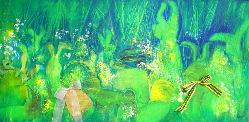 40 x 80 Leinwand, Acryl Mischtechnik mit Collage, geklebte Maschen
