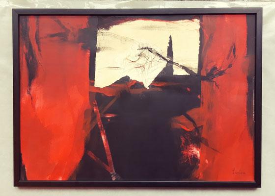 Rouge et Noir 50 x 70 Papier - Mischtechnik mit Collage eingerahmt/encadré CHF 600