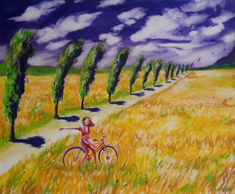 A bicyclette, 80 x 100, Leinwand/canevas, CHF 950.00