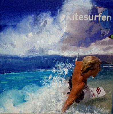 Kitsurf, 20 x 20, Leinwand/canevas, collage, CHF 200.00