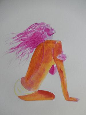 Gouacheakt - Schichtearbeit - Anfang