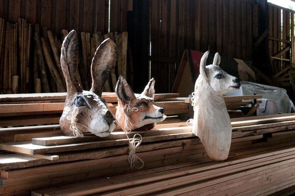 Konferenz der Tiere _ Hase, Fuchs und Lama  I  Tannenholz bemalt  I  Eins und Alles, Welzheim