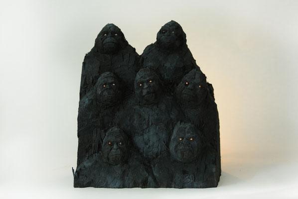 Gorillawand 1, Pappelholz bemalt, 2015
