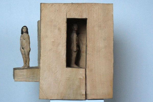 Kiste - Mann und Frau, Pappelholz bemalt 2014 Privatbesitz