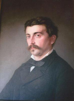 Edouard Bastian de Pelly (1858-1889), petit-neveu du colonel, officier des haras nationaux, héritier du château de Pelly, par Berthe Charmot (Coll. privée)