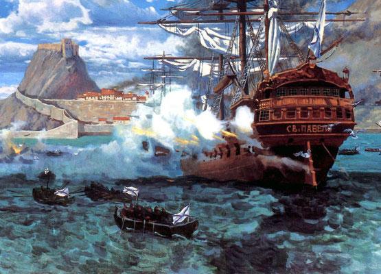 Штурм острова Корфу, художник А.Самсонов, 1996 г.