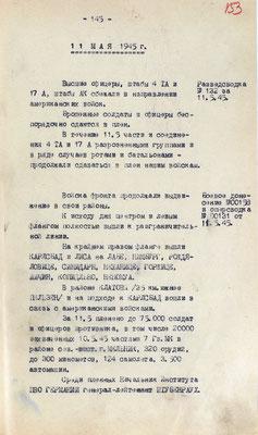 Разведывательная сводка и боевое донесение 1-го УФ от 11 мая 1945 г.