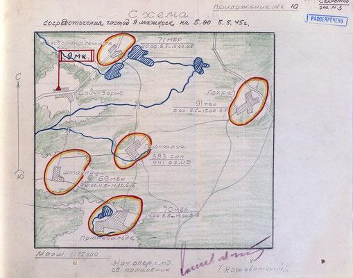 Схема сосредоточения частей 9-го мк 3-й гв. ТА на 05:00 5.5.1945