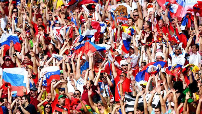 На трибунах – болельщики российской сборной / In the stands – fans of the Russian team