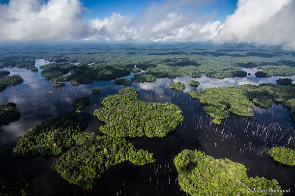Ilots forestiers sur le barrage de Petit-Saut, le 05/07/2017 (prise de vue depuis un hélicoptère)