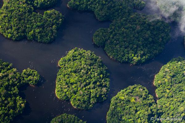 Ilots forestiers sur le barrage de Petit-Saut (prise de vue depuis un hélicoptère)