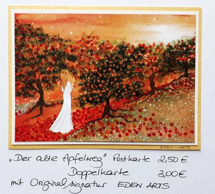 Der alte Apfelweg - mit persönlicher Signatur 2,50€ Postkarte/ 3€ Doppelkarte auf Pappe geklebt/ liebevolle Handarbeit