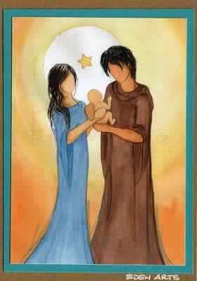 mit persönlicher Signatur 2,50€ Postkarte/ 3€ Doppelkarte auf goldene Pappe geklebt/ liebevolle Handarbeit - Heilige Familie