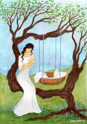 mit persönlicher Signatur 2,50€ Postkarte/ 3€ Doppelkarte auf Pappe geklebt/ liebevolle Handarbeit - Geburt Baum