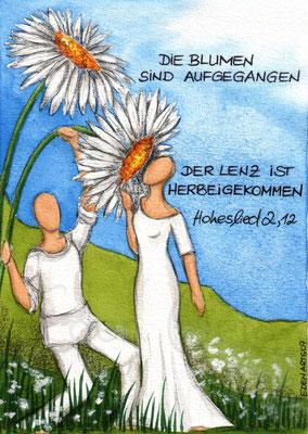 mit persönlicher Signatur 2,50€ Postkarte/ 3€ Doppelkarte auf Pappe geklebt/ liebevolle Handarbeit - Frühling