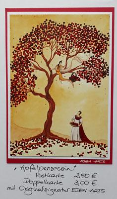 Apfelprinzessin - mit persönlicher Signatur 2,50€ Postkarte/ 3€ Doppelkarte auf Pappe geklebt/ liebevolle Handarbeit