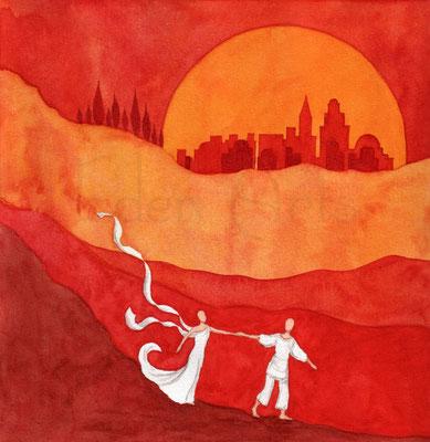 mit persönlicher Signatur 2,50€ Postkarte/ 3€ Doppelkarte auf Pappe geklebt/ liebevolle Handarbeit - Roter Abend
