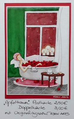 Apfeltraum - mit persönlicher Signatur 2,50€ Postkarte/ 3€ Doppelkarte auf Pappe geklebt/ liebevolle Handarbeit