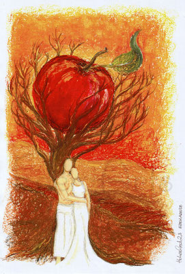 mit persönlicher Signatur 2,50€ Postkarte/ 3€ Doppelkarte auf Pappe geklebt/ liebevolle Handarbeit - Apfelbaum