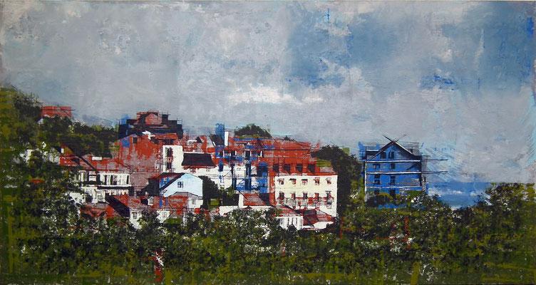Lisboa. Oleo acrílico y tinta sobre tabla. 180x92 cm