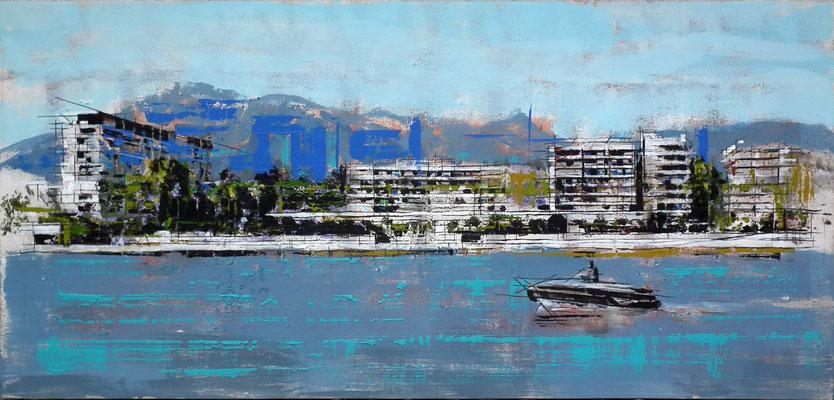Puerto deportivo de Marbella. Oleo acrílico y tinta sobre tabla. 119x57 cm. 1.000 €.