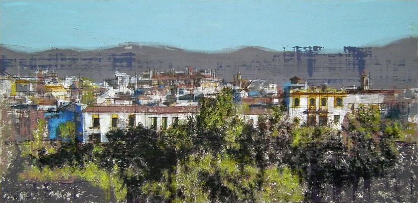 Córdoba. Oleo acrílico y tinta sobre tabla.  150x73 cm.