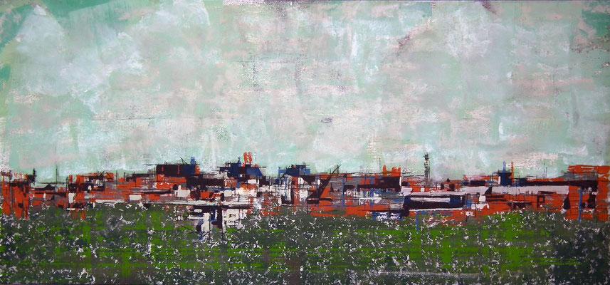 Madrid. Oleo acrílico y tinta sobre tabla.  150x69 cm