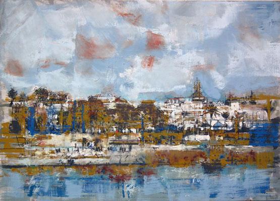 Sevilla. Oleo acrílico y tinta sobre tabla. 104x74 cm. 1.000 €.