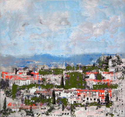 Granada. Oleo acrílico y tinta sobre tabla. 66x64 cm. 600 €.