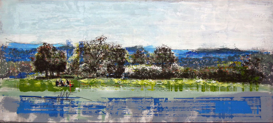 Picnic, Oleo acrílico y tinta sobre tabla.  122x55 cm. 950 €.