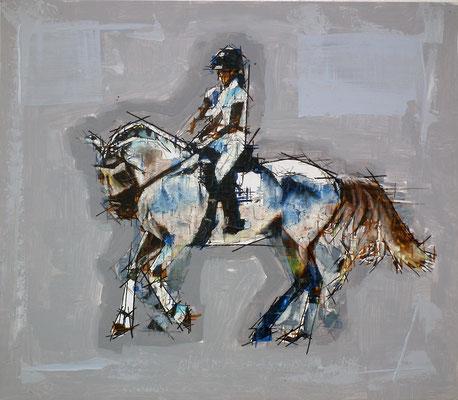 Oleo acrílico y tinta sobre tabla. 69x60 cm