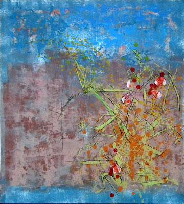Vegetación 1. Oleo, acrílico y tinta sobre tabla. 66x74 cm. 700 euros.