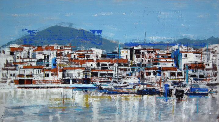 Puerto Banus. Oleo acrílico y tinta sobre tabla. 122x68 cm. 1.200 €.