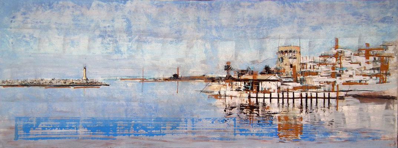 Marbella. Puerto Banus. Oleo, acrílico, y tinta cina sobre tabla. 170X62 cm, 1.500 €