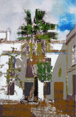Córdoba. Oleo, acrílico, y tinta cina sobre tabla.  48x74 cm. 500 €.