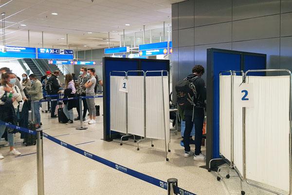 Corona-Testcentrum im Athener Flughafen