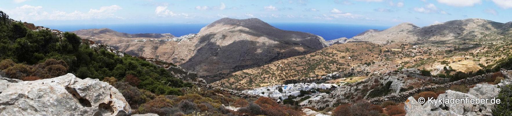 Amorgos, Blick auf Langada vom Wanderweg Nr. 9