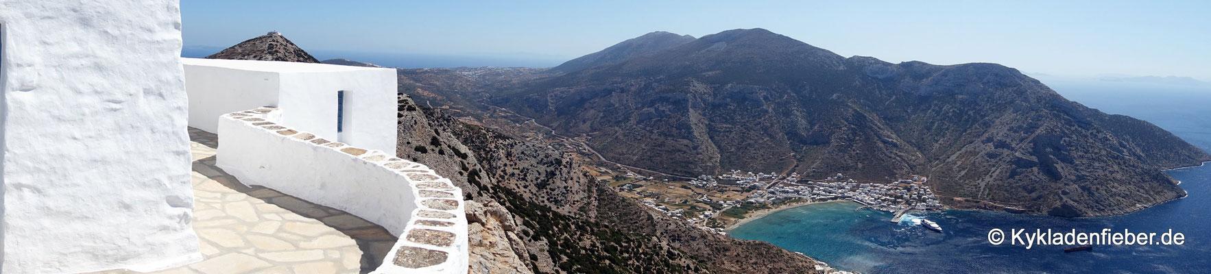 Sifnos, Blick auf Kamares vom Profitis Ilias Troulaki