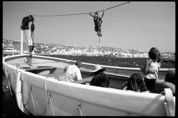 Anfahrt auf Mykonos, damals durfte man noch ins Beiboot