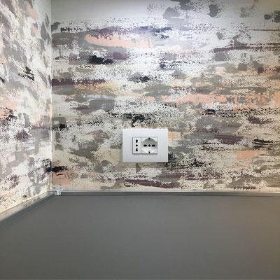 Decorazione di un para schizzi in una cucina privata (dettaglio)