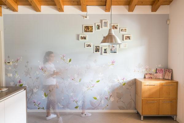Decorazione di una parete in cucina, abitazione privata
