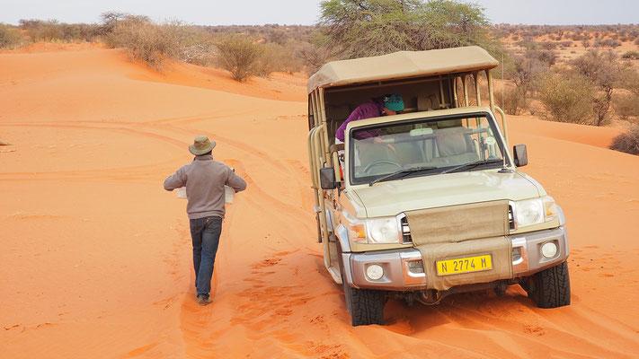 unser Guide hat uns ein Frühstück serviert und rangiert uns mit dem Safarifahrzeug zielsicher durch den Sand