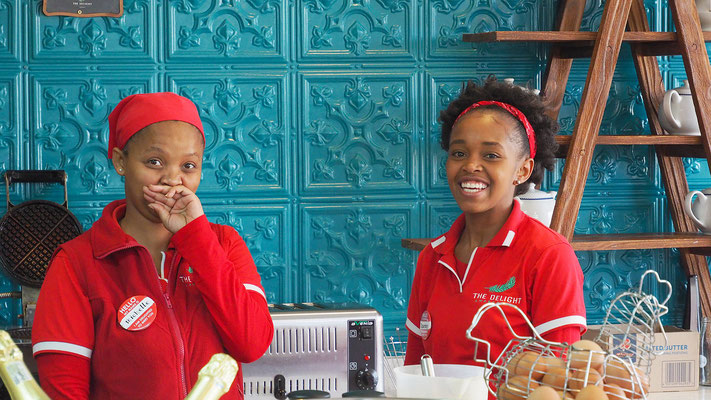Abschied von den freundlichen Mädels im Hotel in Swakopmund