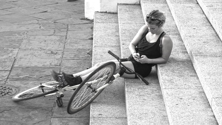 woman with bike, new orleans, louisiana