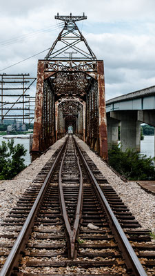 old railroad bridge over tennessee river, camden, tennessee