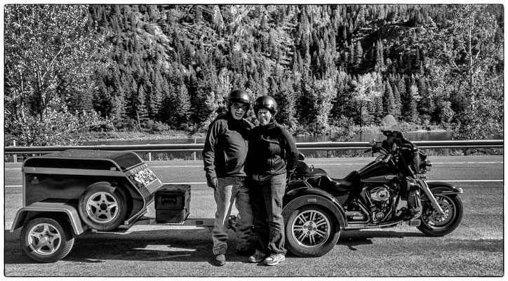 mike and gayle from maine, travelling the u.s. with the motorcylce, glacier park, montana