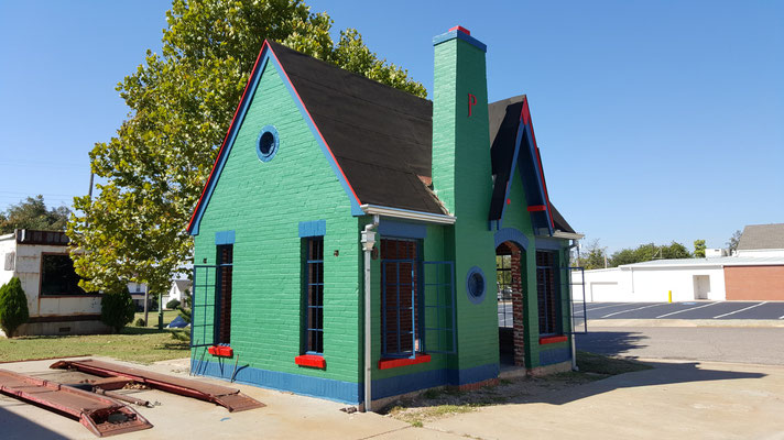 renovated gas station, route 66,chandler, oklahoma