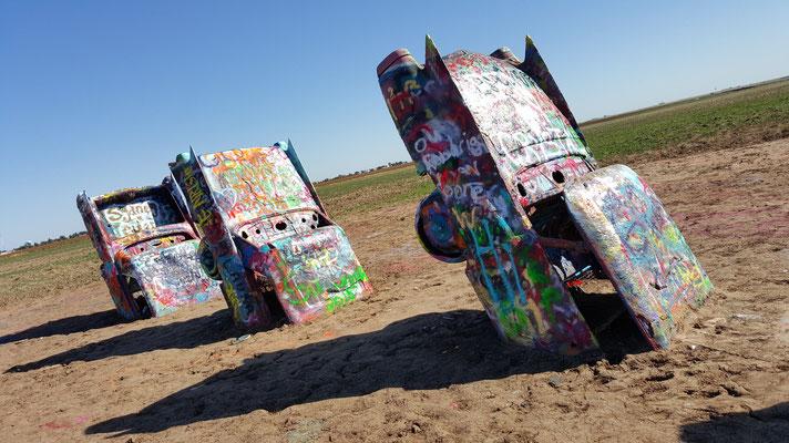 the cadillac ranch, amarillo, texas