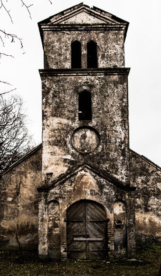 Ruined Church in Auce Pagasts, used to be a pigstall, Latvia